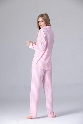Pijama Denizi Uzun Kollu Gömlek Yaka Düğmeli Pijama Takımı Pembe Çizgili 2
