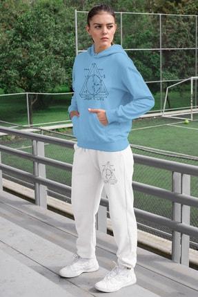 Angemiel Wear Geometrik Şekiller Kadın Eşofman Takımı Mavi Kapşonlu Sweatshirt Beyaz Eşofman Altı 0
