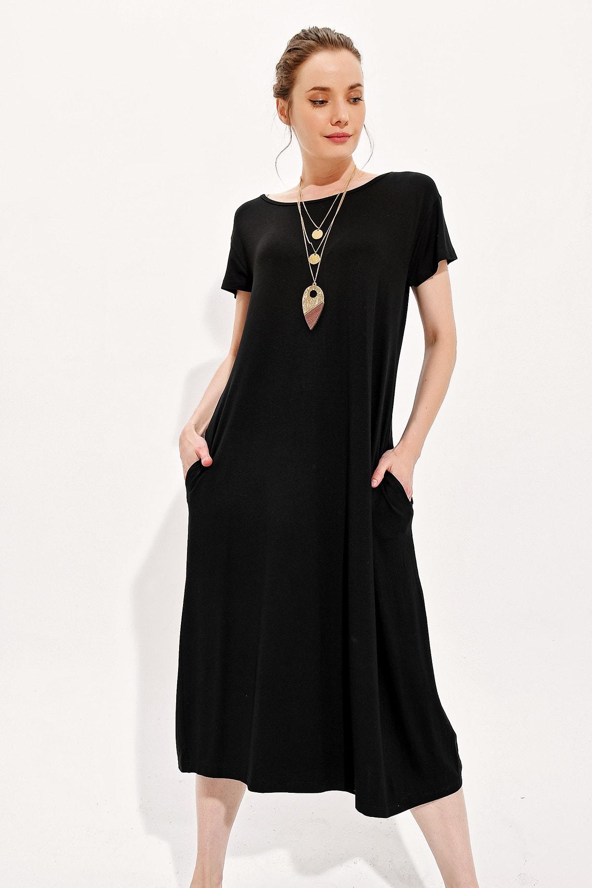 Trend Alaçatı Stili Kadın Siyah Kayık Yaka Cepli Salaş Elbise Alc-X4311
