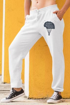 Angemiel Kadın Eşofman Takımı Gri Kapşonlu Sweatshirt Beyaz Eşofman Altı 1
