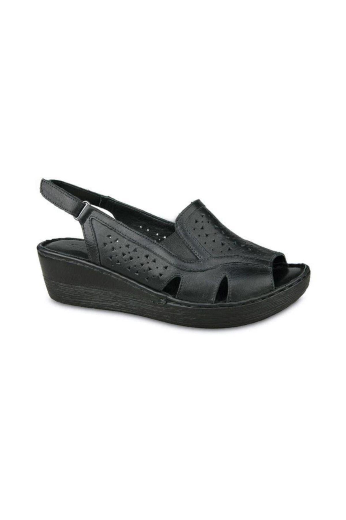 Ceyo 102 Hakiki Deri Dolgu Topuk Sandalet