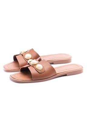 OCT Shoes Taşlı Taba Kadın Terlik TS1035 2