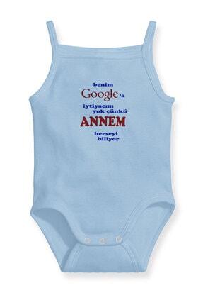 Angemiel Baby Benim Google'a Ihtiyacım Yok Annem Var Erkek Bebek Askılı Zıbın Body Atlet Mavi 0