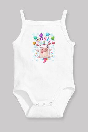 Angemiel Baby Sevimli Tek Boynuzlu Domuz Kız Bebek Askılı Zıbın Body Atlet Beyaz 0