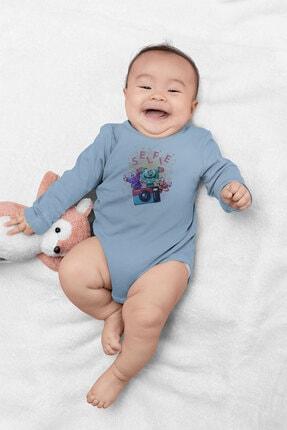 Angemiel Baby Fotoğraf Çeken Canavarlar Erkek Bebek Uzun Kollu Zıbın Mavi 1