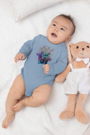 Angemiel Baby Fotoğraf Çeken Canavarlar Erkek Bebek Uzun Kollu Zıbın Mavi 2
