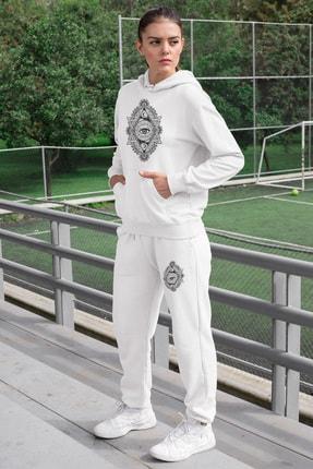Angemiel Wear Üçgen Motifleri Ay Ve Göz Kadın Eşofman Takımı Beyaz 0