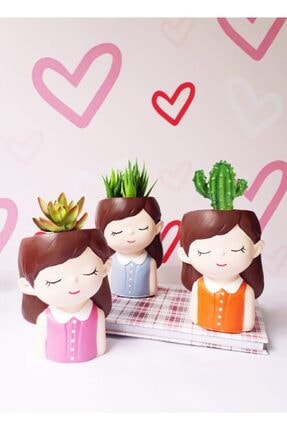 PiksiHome Özel El Yapımı 3 Adet Sevimli Kız Figürlü Sukulent Saksı-çiçeksiz 0