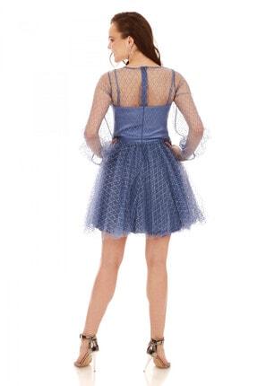 6ixty8ight İndigo Tül Glitterli Uzun Kollu Abiye Elbise 3