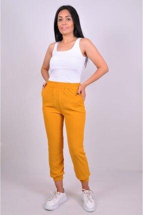 alissebutik Kadın Sarı Paçası Lastikli Cepli Jogger Eşofman altı 1