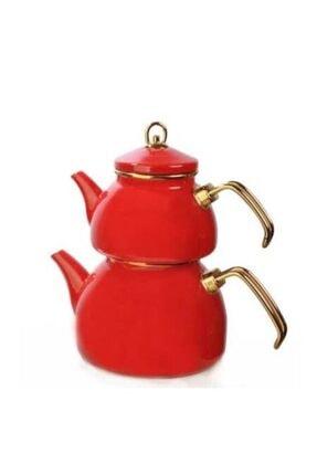 KCD Emaye Çaydanlık Takımı-kırmızı-610248 1