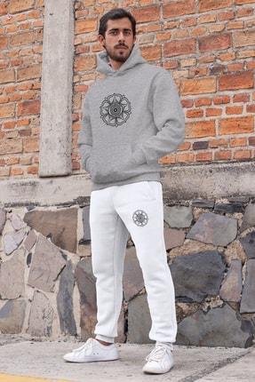 Angemiel Wear Universitas Jogjakarta Erkek Eşofman Takımı Gri Kapşonlu Sweatshirt Beyaz Eşofman Altı 0