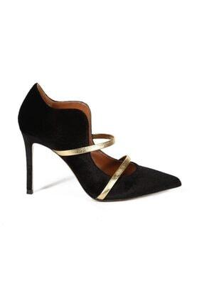 تصویر از Bucaneve Sıyah / Altın Kadife Bantlı Kadın Stiletto & Abiye Ayakkabı