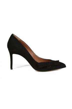 تصویر از Costanza Siyah Süet Fiyonklu Kadın Stiletto & Abiye Ayakkabı
