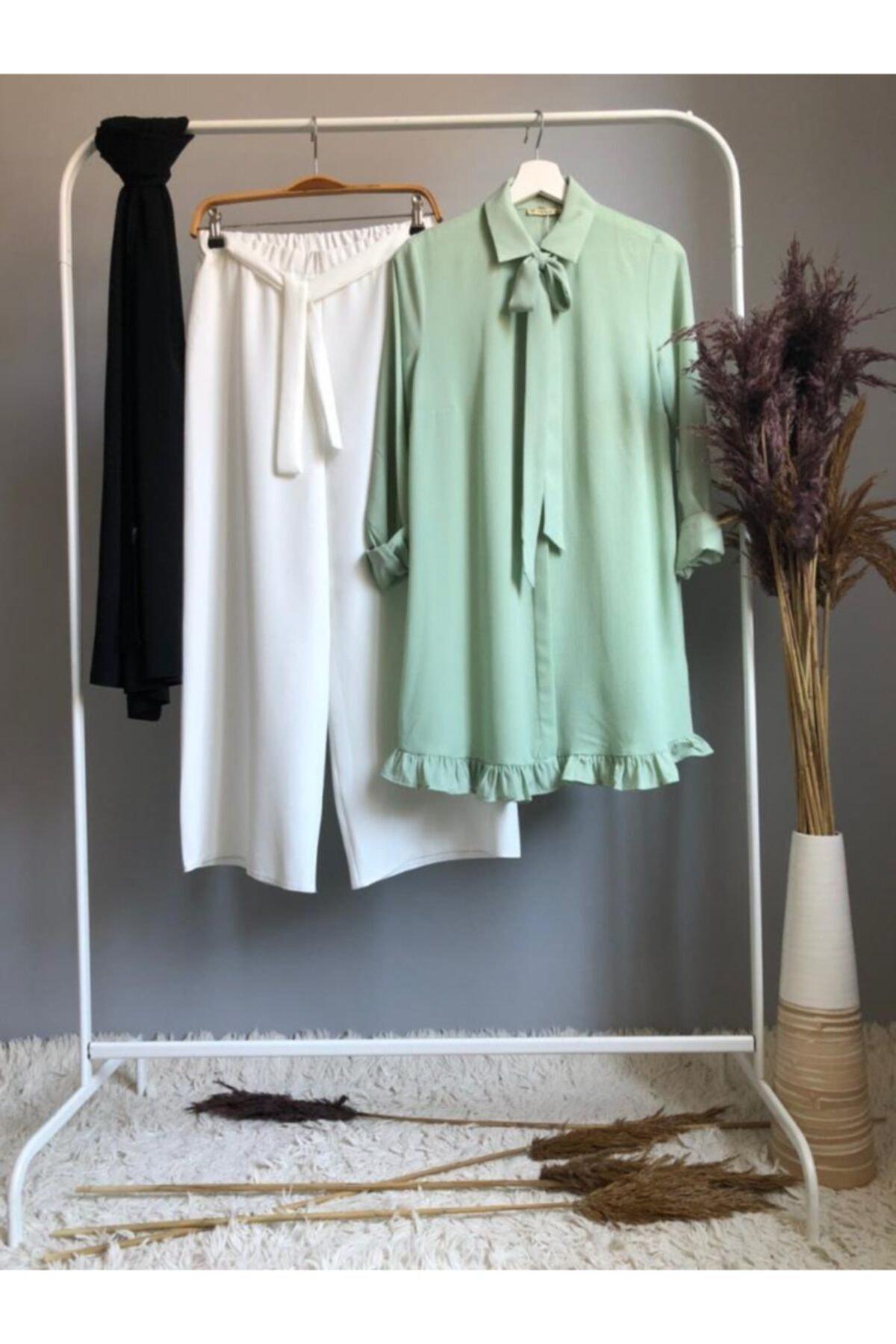 Kombin-kurdela Ve Fırfır Detaylı Tunik Ve Pantolon