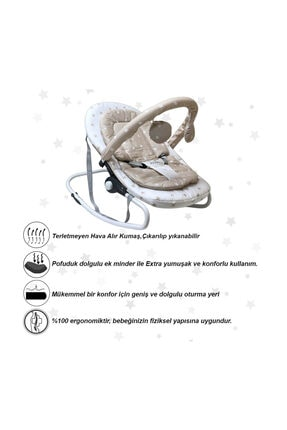 Jusso Sleeper Sallanır Ana Kucağı Konfor Pedli - Ekru 4