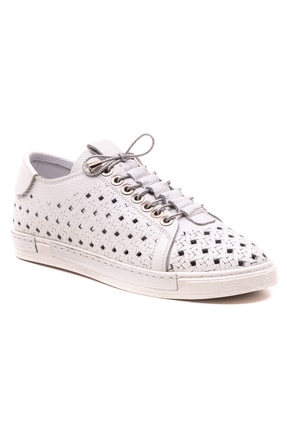 GRADA Beyaz Hakiki Deri Delikli Kadın Ayakkabı 0