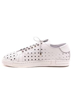 GRADA Beyaz Hakiki Deri Delikli Kadın Ayakkabı 2