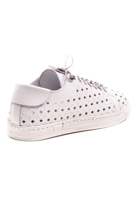 GRADA Beyaz Hakiki Deri Delikli Kadın Ayakkabı 3