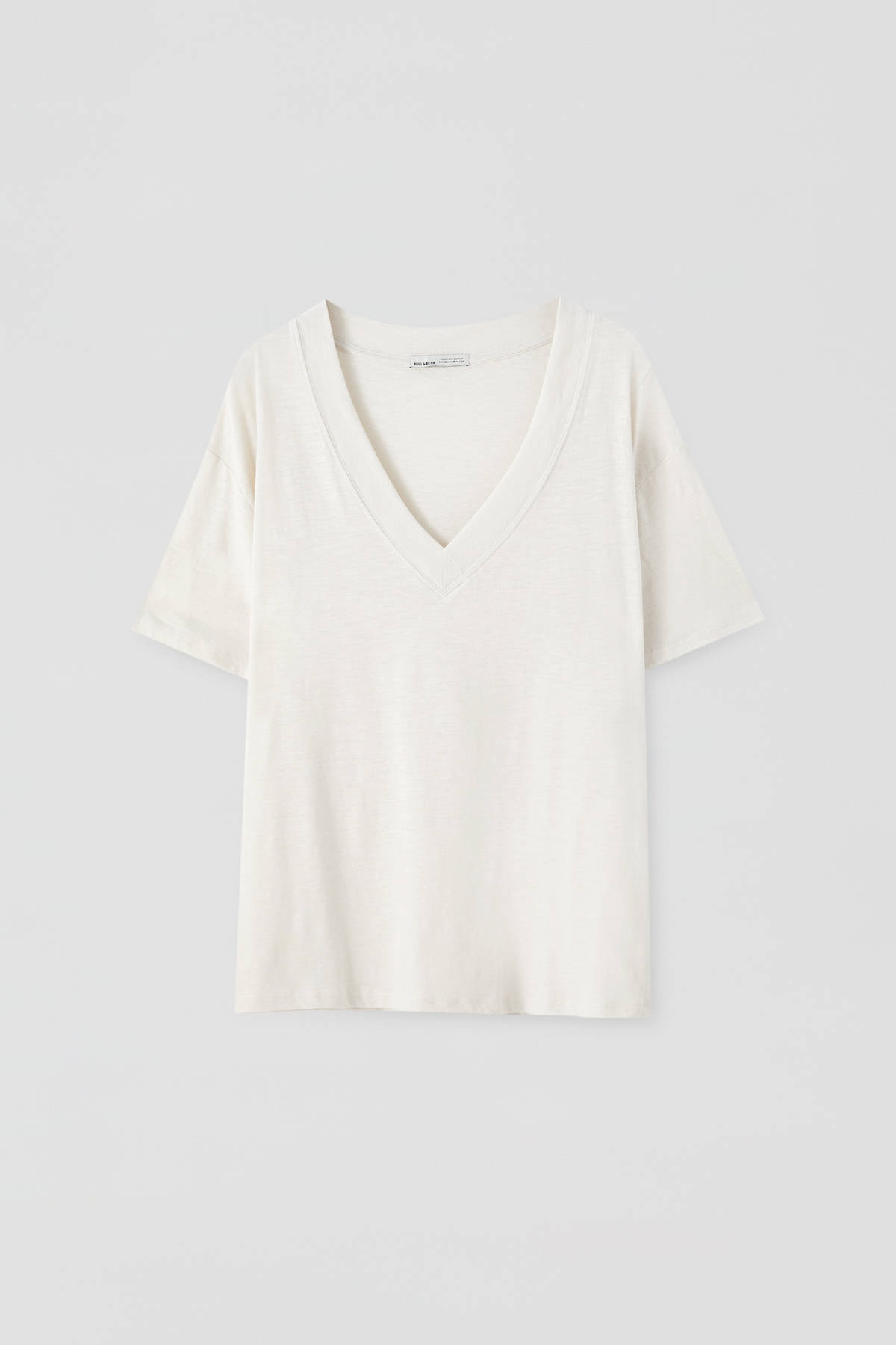 Pull & Bear Kadın Taş Rengi Basic Oversize Düğümlü Örgü T-Shirt 05236324 4