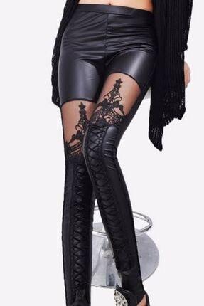 Fashiontayt Dantelli Deri Tayt 0
