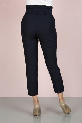 ChiChero Kadın Lacivert Havuç Pileli Kalın Kemerli Kumaş Pantolon 3