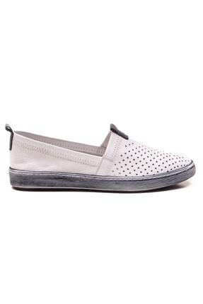 GRADA Beyaz Hakiki Deri Bağcıksız Kadın Ayakkabı 1
