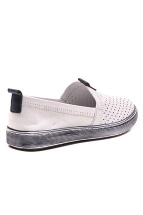 GRADA Beyaz Hakiki Deri Bağcıksız Kadın Ayakkabı 2