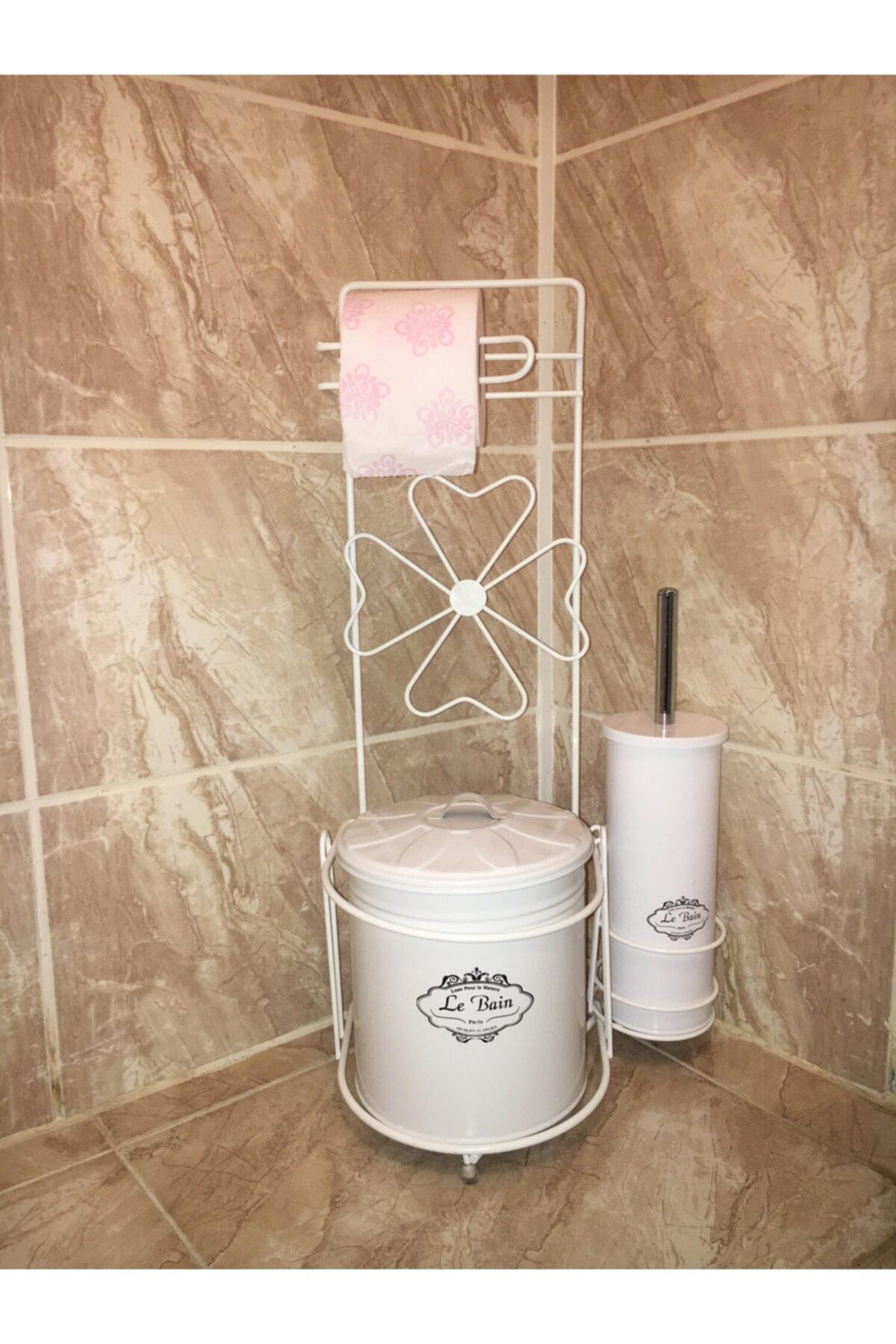 Ferforje Wc Tuvalet Kağıdı Askısı Tuvalet Fırçası Çöp Kova Beyaz