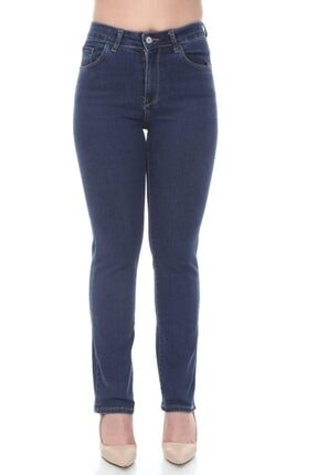 Boru Paça Yüksek Bel Full Likralı Koyu Mavi Kot Pantolon ETCButik_PNT1002