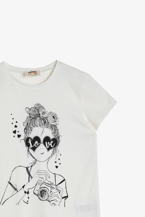 Koton Ekru Kız Çocuk T-Shirt 2