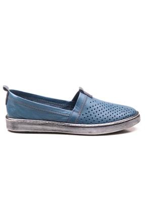 GRADA Mavi Hakiki Deri Bağcıksız Kadın Ayakkabı 1