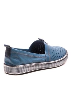 GRADA Mavi Hakiki Deri Bağcıksız Kadın Ayakkabı 3