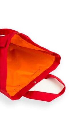 Çınar Bez Çanta Kırmızı Gabardin Kumaş Çanta 38x29x11 cm (220 gr) 2