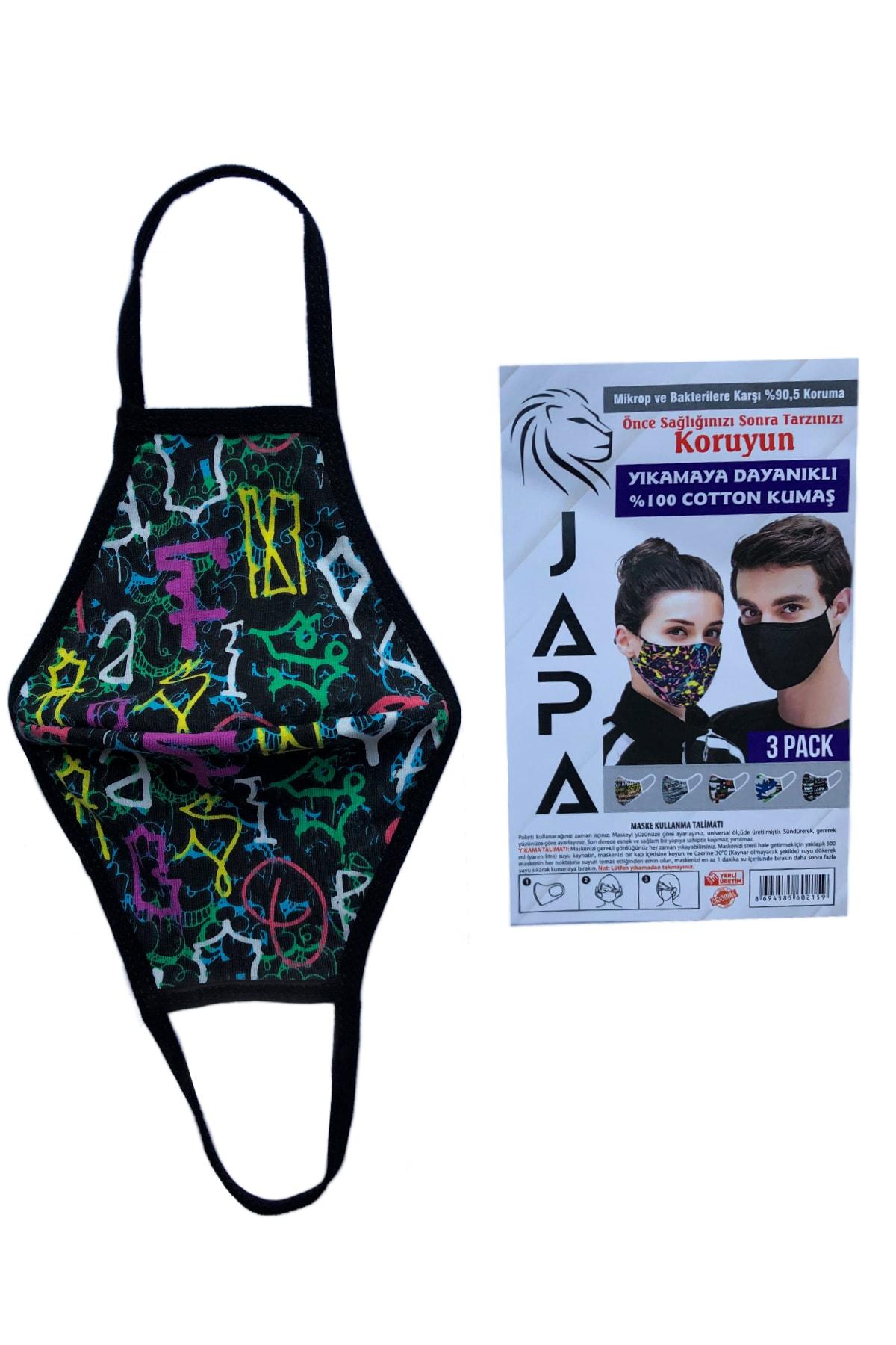 Özel Yapım JAPA 3 Katlı Yıkanabilir 3 ADET Maske... Mikrop ve Bakterilere Karşı %90.5 Koruma 2