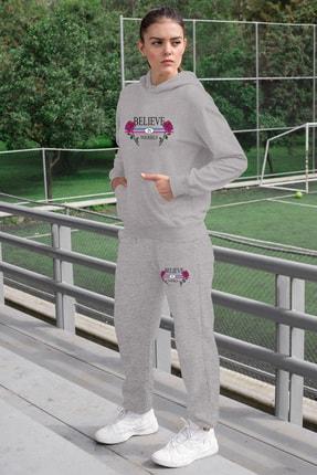 Angemiel Wear Believe In Yourself Kadın Eşofman Takımı Gri Kapşonlu Sweatshirt Gri Eşofman Altı 0