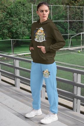 Angemiel Wear Tatilci Iskelet Kadın Eşofman Takımı Yeşil Kapşonlu Sweatshirt Mavi Eşofman Altı 0