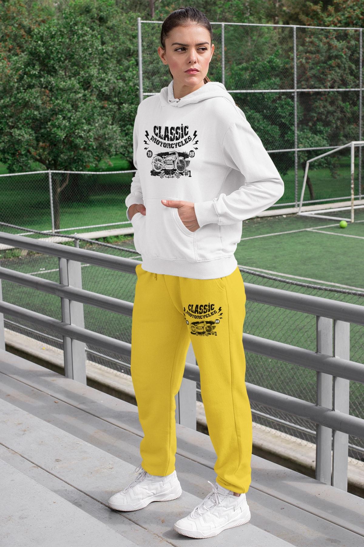 Wear Motorcycles Kadın Eşofman Takımı Beyaz Kapşonlu Sweatshirt Sarı Eşofman Altı