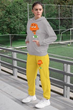Angemiel Wear Canı Sıkkın Darwin Kadın Eşofman Takımı Gri Kapşonlu Sweatshirt Sarı Eşofman Altı 0