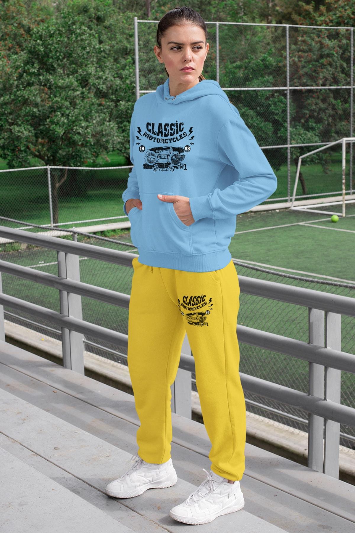 Wear Motorcycles Kadın Eşofman Takımı Mavi Kapşonlu Sweatshirt Sarı Eşofman Altı