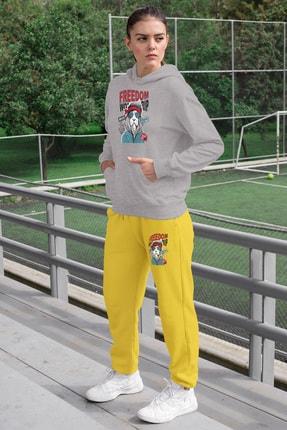 Angemiel Wear Freedom Aslan Kadın Eşofman Takımı Gri Kapşonlu Sweatshirt Sarı Eşofman Altı 0
