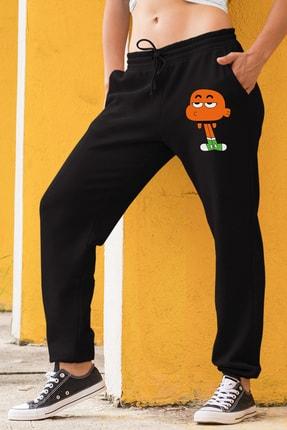 Angemiel Wear Canı Sıkkın Darwin Kadın Eşofman Takımı Gri Kapşonlu Sweatshirt Siyah Eşofman Altı 1