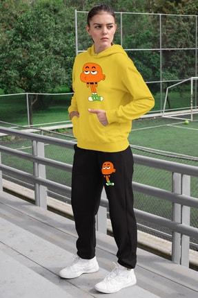Angemiel Wear Canı Sıkkın Darwin Kadın Eşofman Takımı Sarı Kapşonlu Sweatshirt Siyah Eşofman Altı 0
