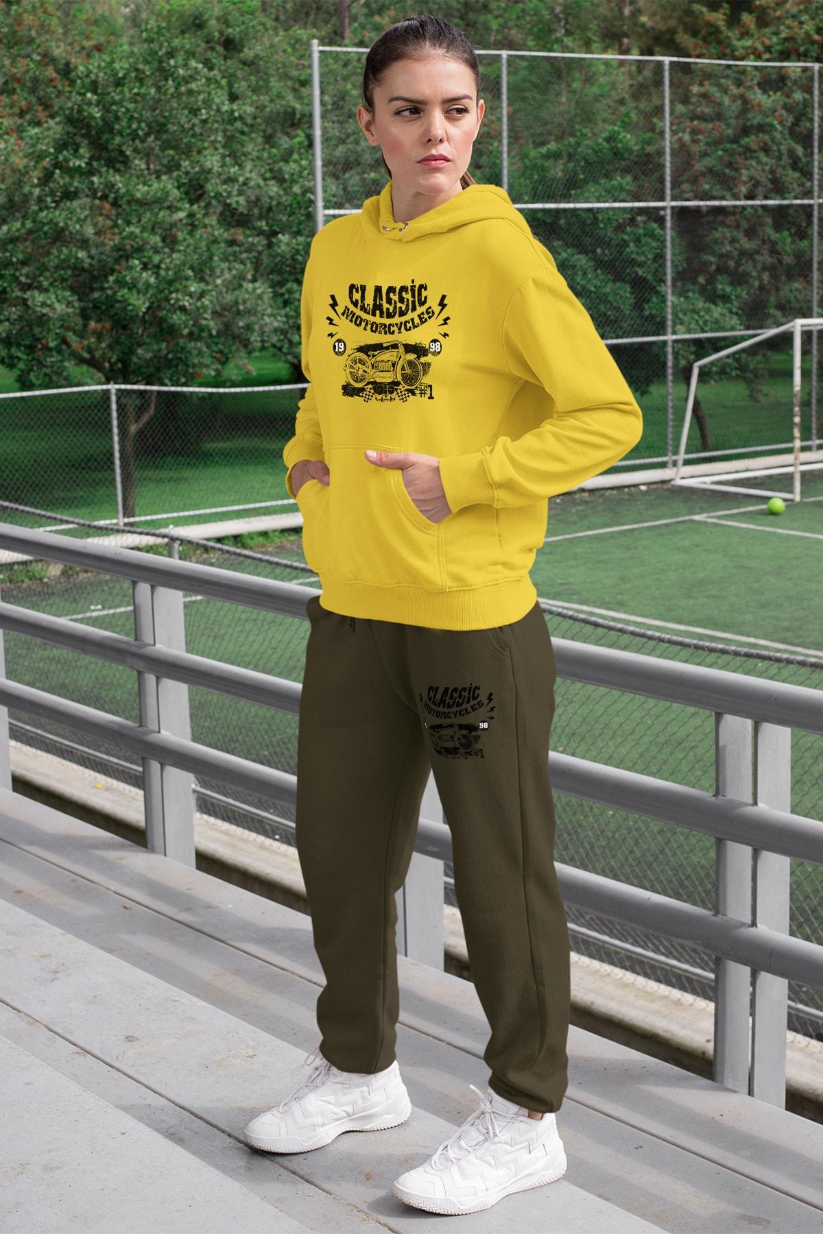 Wear Motorcycles Kadın Eşofman Takımı Sarı Kapşonlu Sweatshirt Yeşil Eşofman Altı