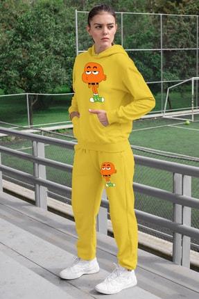 Angemiel Wear Canı Sıkkın Darwin Kadın Eşofman Takımı Sarı Kapşonlu Sweatshirt Sarı Eşofman Altı 0