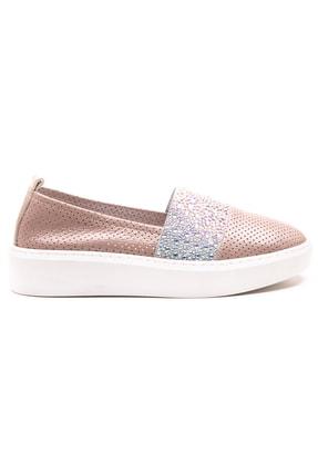 GRADA Vizon Deri Taşlı Delik Baskılı Kadın Ayakkabı 1
