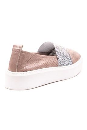 GRADA Vizon Deri Taşlı Delik Baskılı Kadın Ayakkabı 3