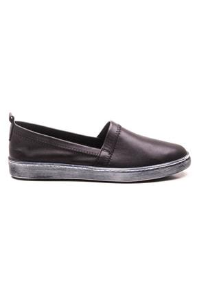 GRADA Siyah Sade Düz Hakiki Deri Kadın Ayakkabı 1