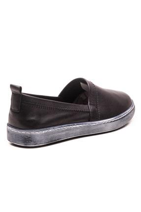 GRADA Siyah Sade Düz Hakiki Deri Kadın Ayakkabı 3