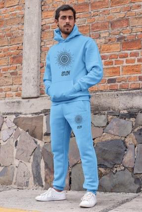 Angemiel Wear Motifli Güneş Erkek Eşofman Takımı Mavi Kapşonlu Sweatshirt Mavi Eşofman Altı 0